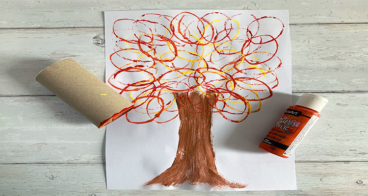 loo roll stamping autumn trees