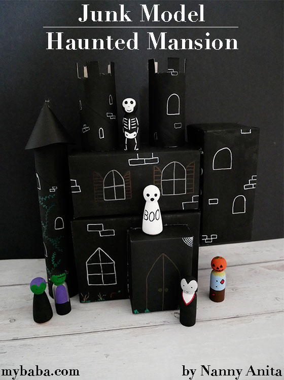 Turn old boxes and loo rolls into a junk model haunted mansion for small world play.