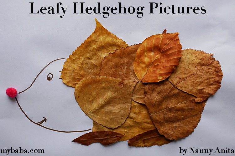 collect leaves on a walk to use in making these cute leafy hedgehog pictures