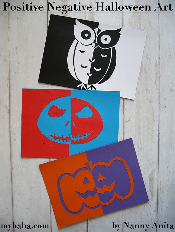 Positive and negative halloween pictures.  Kids halloween craft.