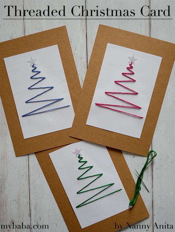 Homemade Threaded Christmas cards