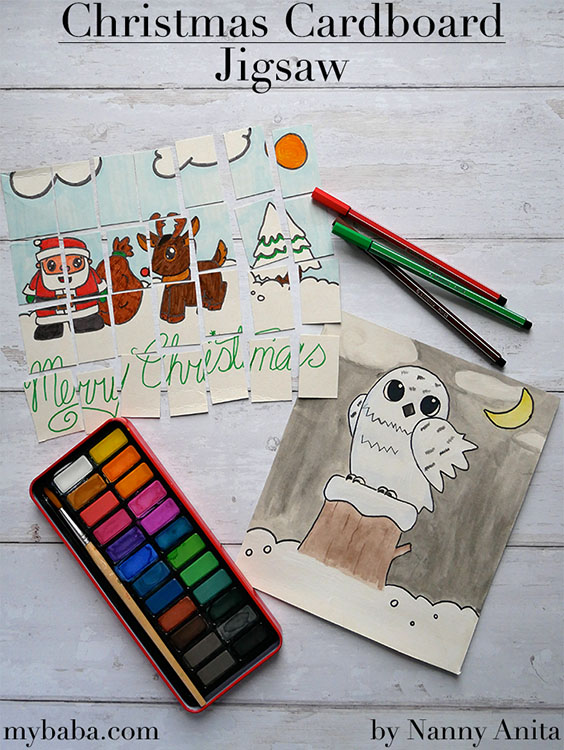Turn bits of cereal boxes into a Christmas cardboard jigsaw busy bag to keep little ones engaged this festive period.