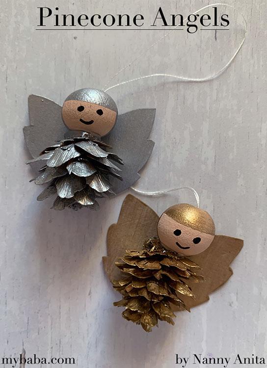 Make some Christmas pinecone angels to hang on your Christmas tree - christmas craft for kids.