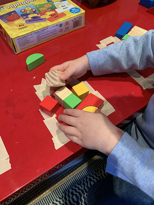 fill in the space with blocks activity