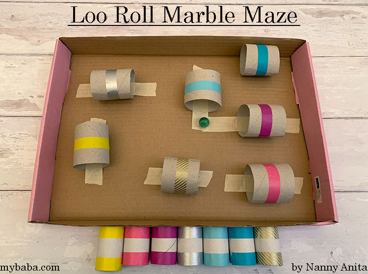 Make a loo roll marble maze out of old loo rolls and box lid.  Rainy day activity for kids.