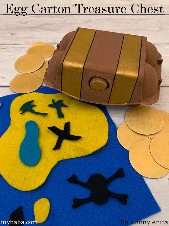 Egg carton treasure chest for use in imaginative play and in preschool maths.