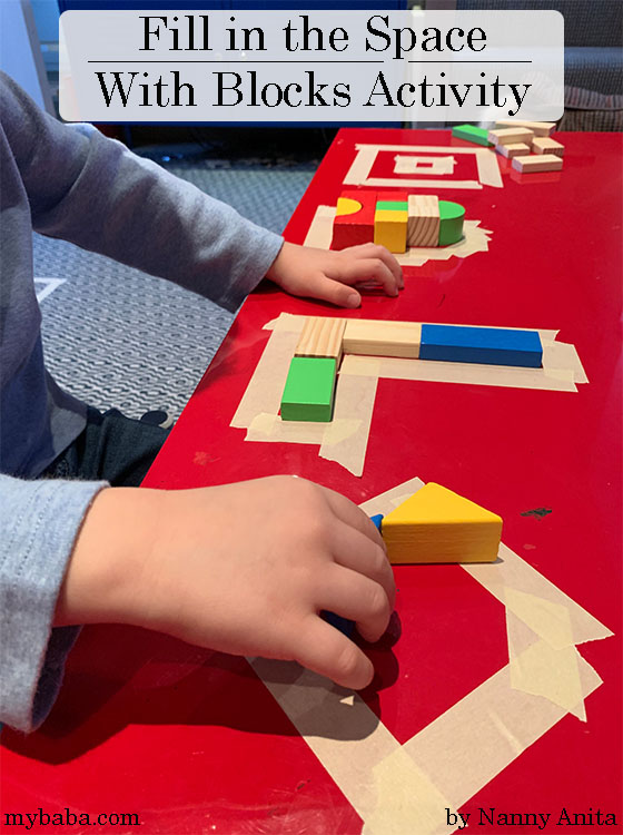 Fill in the space with blocks activity is a fun and simple STEM game for children to develop their spatial awareness and problem solving.