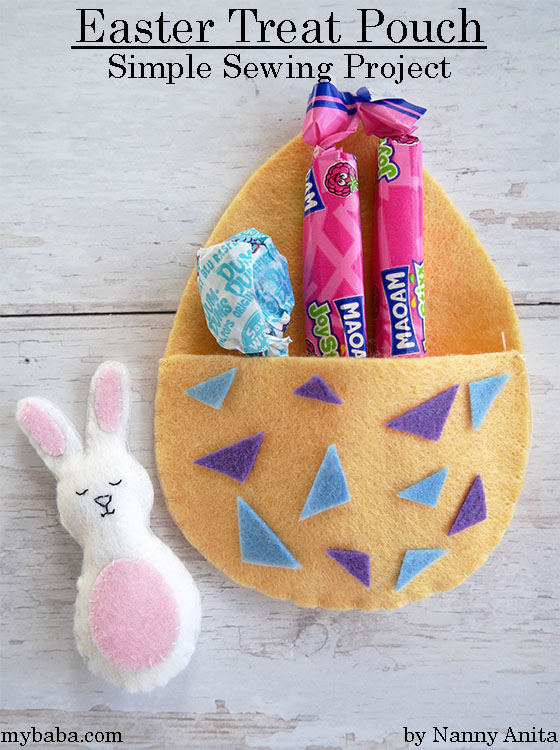 Easter treat pouch: Simple sewing project for children.