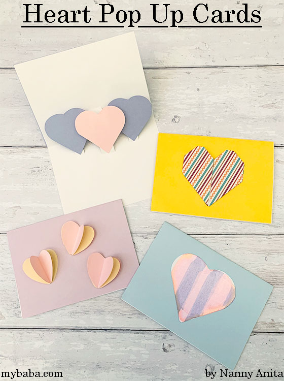 Easy to make heart pop up cards for Valentine's Day
