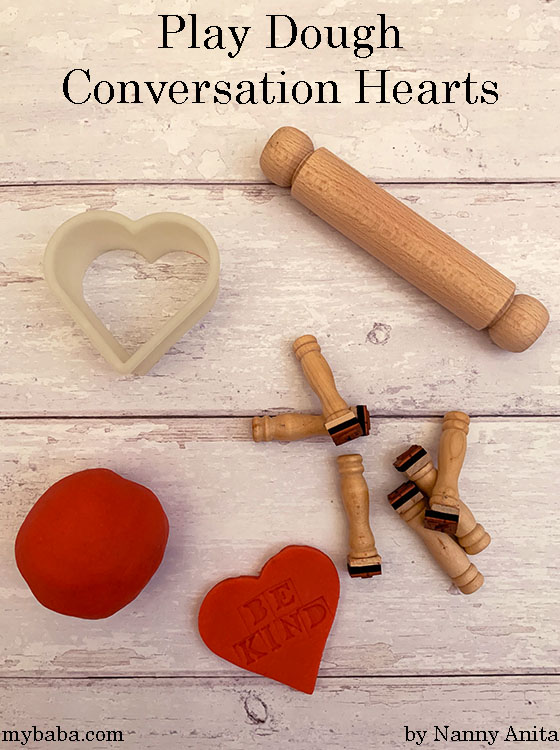 Play dough conversation hearts invitation to play - Valentine's day activity for kids