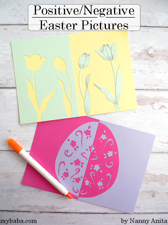 Positive and negative easter pictures - kids easter craft