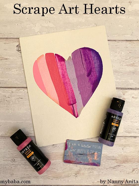 Scrape art hearts for a Valentine's Day craft