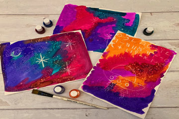 watercolour and salt nebula paintings