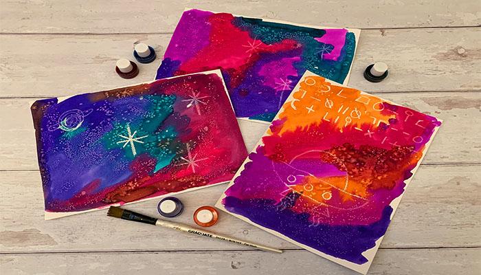 watercolour and salt nebula paintings