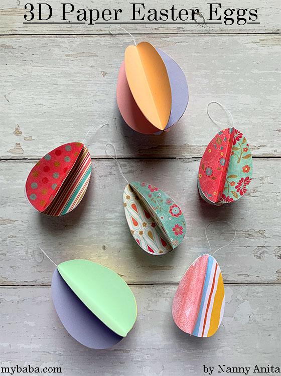 Easy Easter kids craft - 3D paper eggs