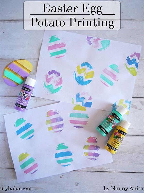 easter egg potato printing - Easter craft for kids