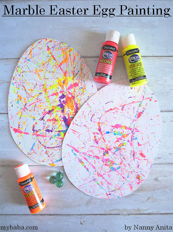 Marble painted Easter eggs - Easter craft for kids.