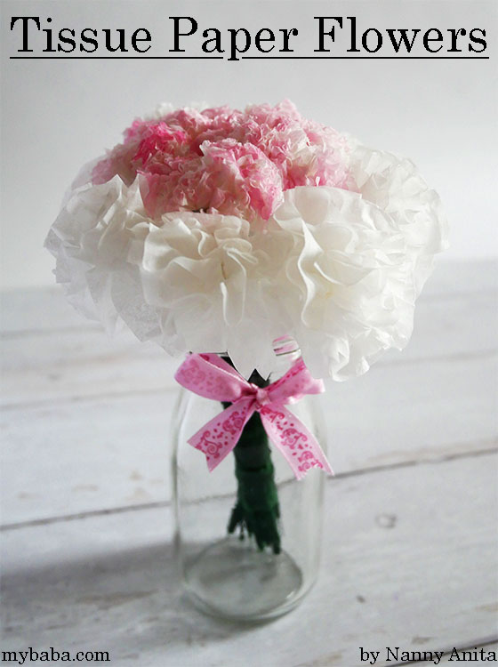 Make a beautiful posy of flowers using tissues, Tissue paper flowers.