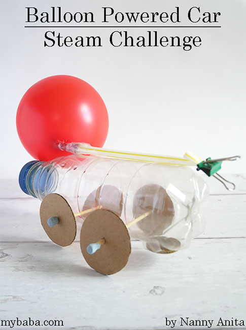 How to make a balloon powered car steam challenge for kids.