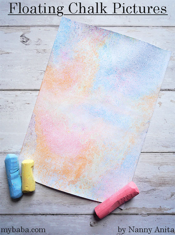 floating chalk pictures - craft for kids