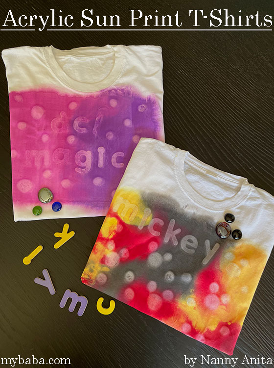 Use the power of the sun, acrylic paints, and some wooden letters to create some awesome acrylic sun print t-shirts.