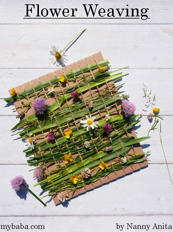 Use the flowers and things that you pick to do some flower weaving. Kids craft