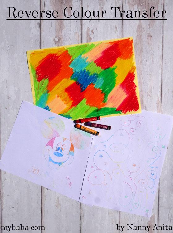 Reverse colour transfer craft idea for kids.