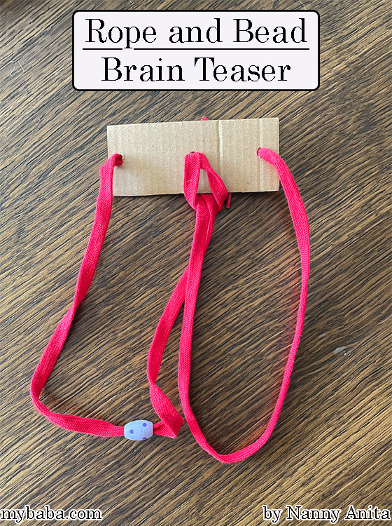 DIY rope and bead brain teaser for kids. Great for keeping them occupied while waiting for appointments and things.