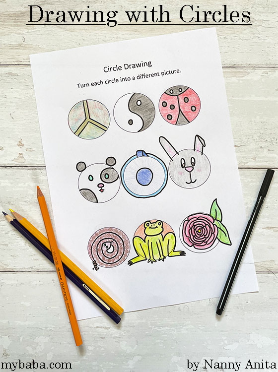 Drawing with circles exercise for kids.