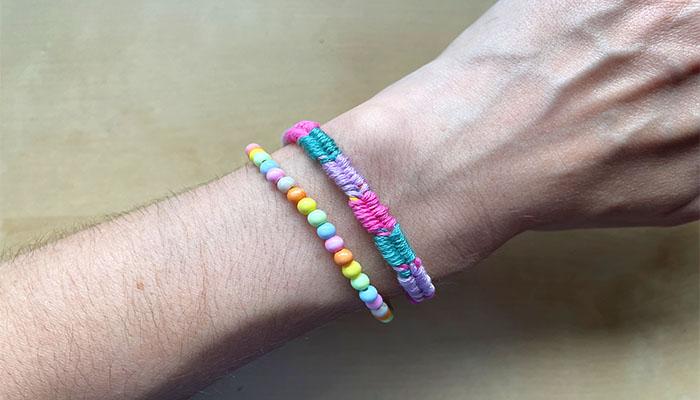 multicoloured fishtail friendship bracelet