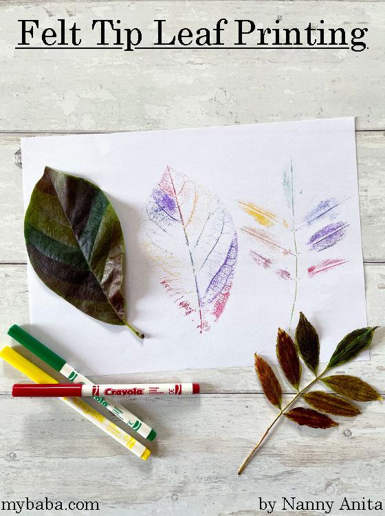Felt tip leaf printing.  Autumn craft for kids.