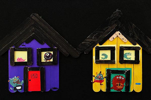 Craft stick haunted house