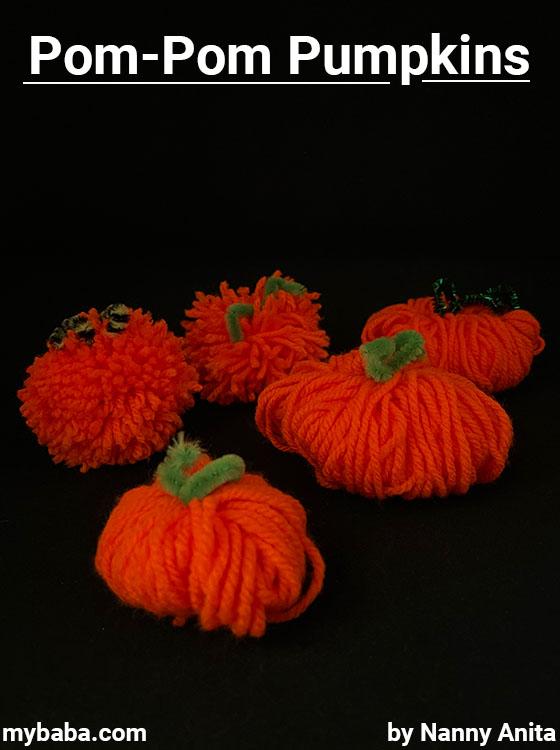 Pompom pumpkins - kids halloween craft